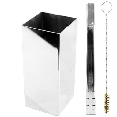 Kit Bomba e Copo de Terere Quadrado 19cm Aço Inox Lisa Prata Filete