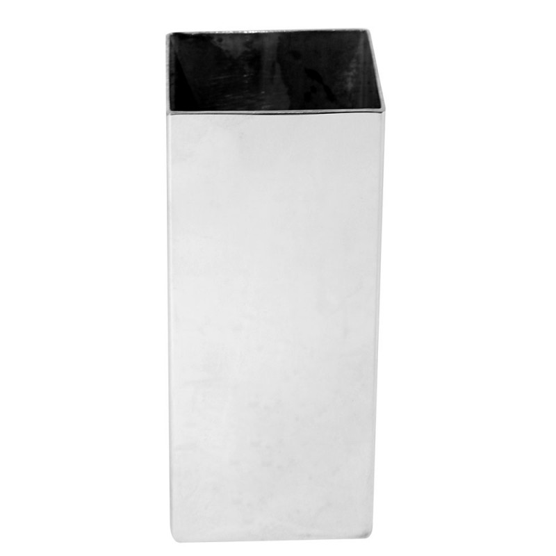 Kit Bomba e Copo Quadrado Terere 19cm Aço Inox Lisa Prata Filete