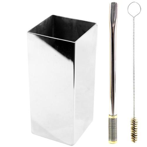 Kit Bomba e Copo Quadrado Terere 19cm Aço Inox Lisa Gold Bojo Mola