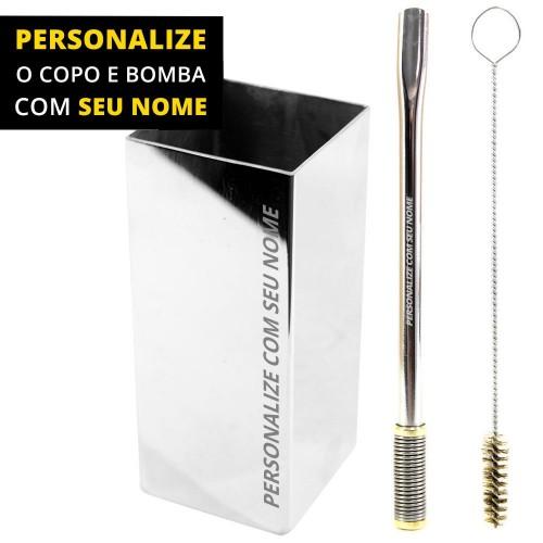 Personalize Kit Bomba e Copo Quadrado Terere 19cm Aço Inox Lisa Gold Bojo Mola