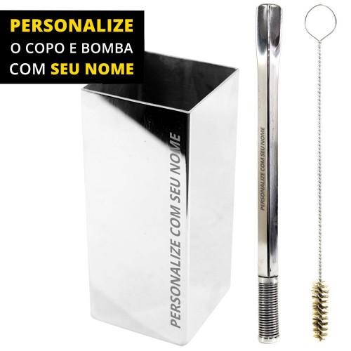 Personalize Kit Bomba e Copo Quadrado Terere 21cm Aço Inox Quadrada Silver Bojo Mola
