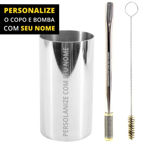 Personalize Kit Bomba e Copo de Terere Redondo 19cm Aço Inox Lisa Gold Bojo Mola