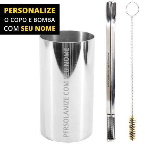 Personalize Kit Bomba e Copo Redondo Terere 21cm Aço Inox Quadrada Silver Bojo Mola