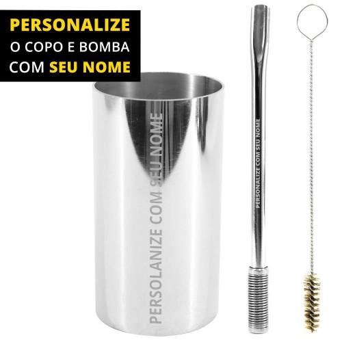 Personalize Kit Bomba e Copo de Terere Redondo 19cm Aço Inox Lisa Prata Bojo Mola