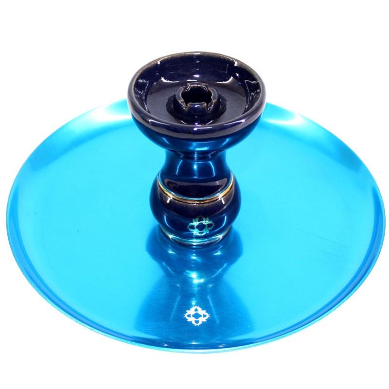 Narguile Completo Amazon Future Onix Azul Metal Azul Vaso Azul