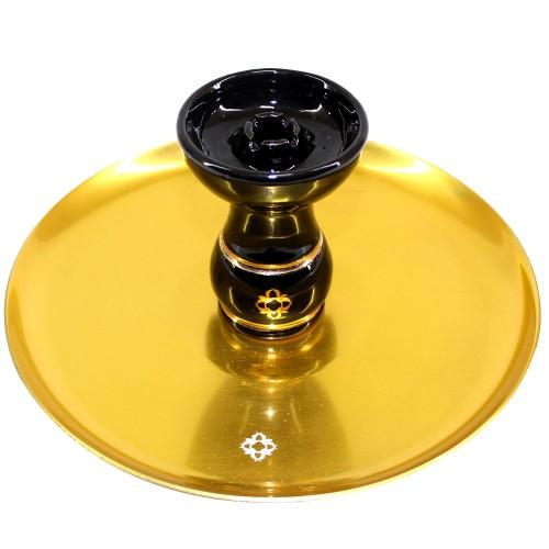 Narguile Amazon Future Madeira Metal Dourado Vaso Transparente Rigado