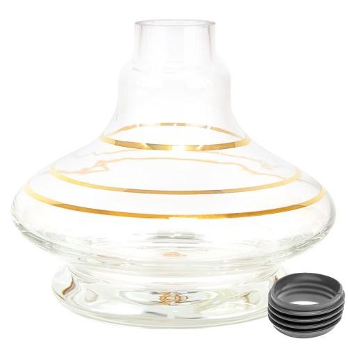Vaso Narguile Pequeno Transparente Md Genie Listra Dourado