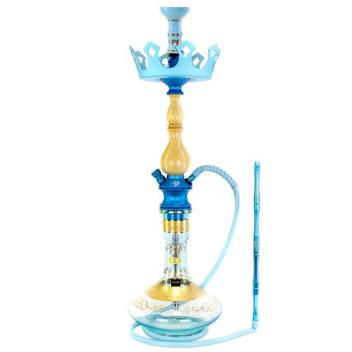 Narguile Grande Zeus New Edition Metal Azul Vaso Bless Genie Prato Royal Flush