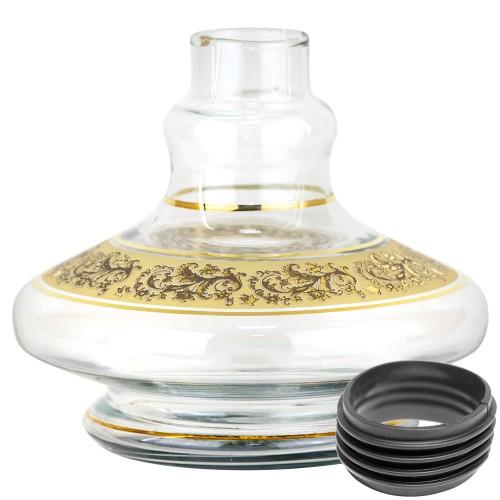 Vaso Narguile Pequeno Genie Brisas Transparente Listra Dourada Faixa Arabesco