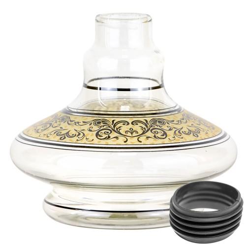 Vaso Narguile Pequeno Genie Brisas Transparente Listra Dourada Faixa Arabesco Preta