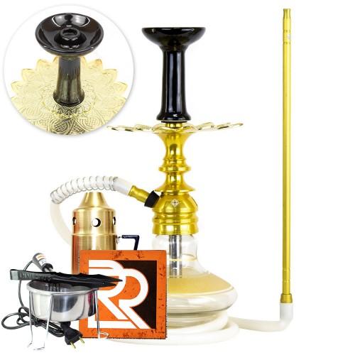 Kit Narguile Pequeno Completo Amazon Kombat Dourado Vaso Genie Faixa Prato Alusi Zen Rosh Fast Flux