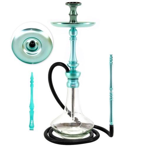 Narguile Sultan Miid Médio Completo Teal Blue Azul + Rosh Seven