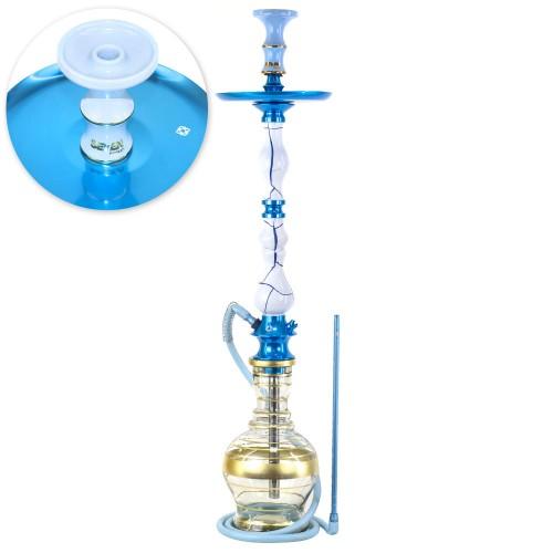 Narguile Grande Amazon Luxury Onix Branco e Azul Metal Azul Prato New Universal Rosh Seven