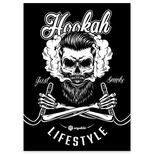 Placa Decorativa Quadro Narguile MDF Hookah Lifestyle Just Smoke ArguileBr