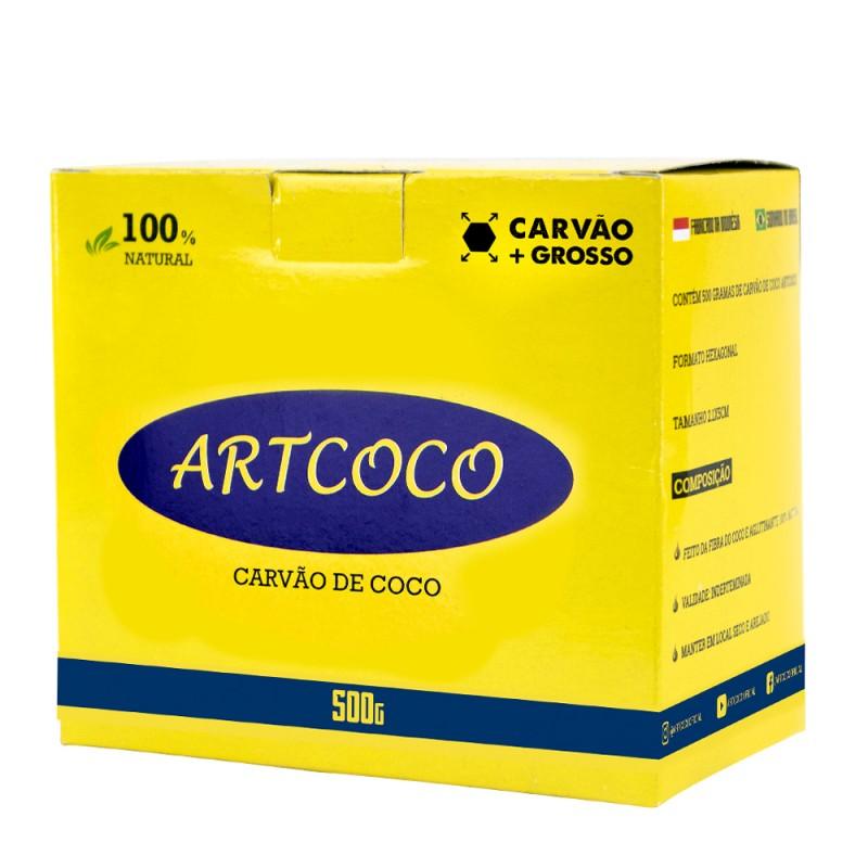 Carvão Narguile Artcoco Hexagonal Mais Grosso Azul 500g