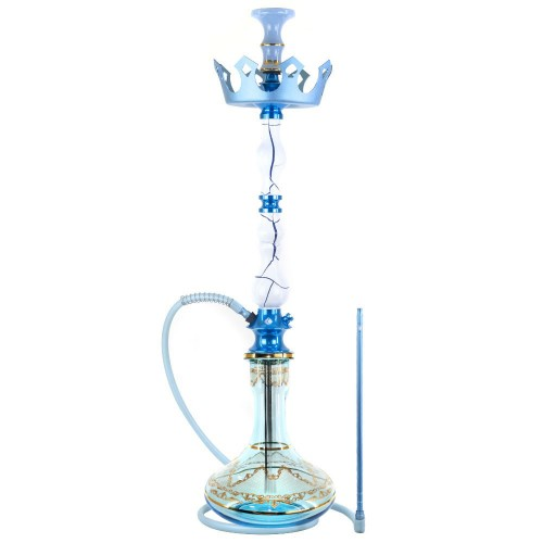 Narguile Grande Amazon Luxury Onix Branco e Azul Metal Azul Prato Zenith Coroa Rosh Seven