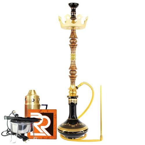 Narguile Marajah Umbrella Grande Listra Preta Metal Dourado Vaso Genie Prato Coroa Kit