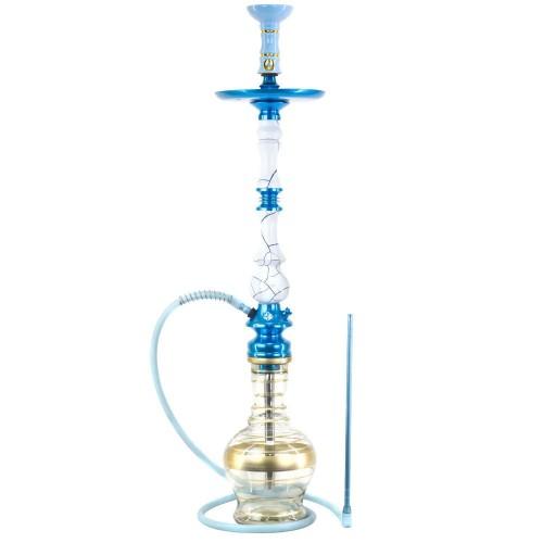 Narguile Grande Amazon Kaiser Onix Branco e Azul Metal Azul Prato New Universal Rosh Alusi Take