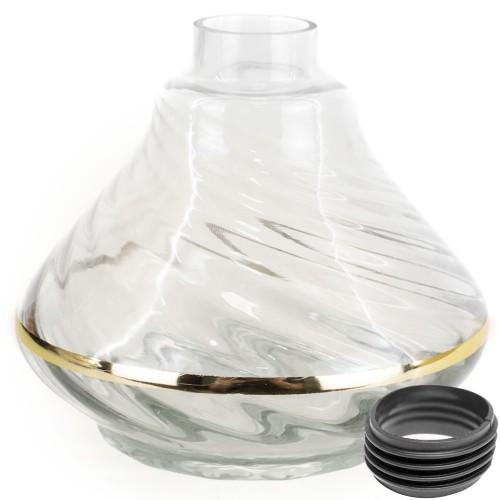Vaso Narguile Pequeno Alusi Hookah Transparente Listra Dourada