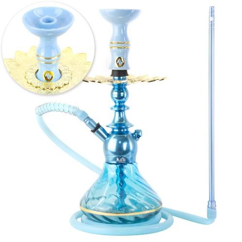 Narguile Sultan Kini Colors Azul Claro Prato Alusi Zen Pequeno Rosh Alusi Kiso Gold