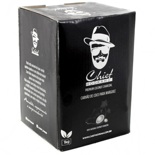 Carvão Coco Narguile Chief Hookah Hexagonal 1kg